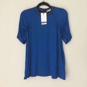 Zara | Denim Colection blue Mock Neck Top Ruched